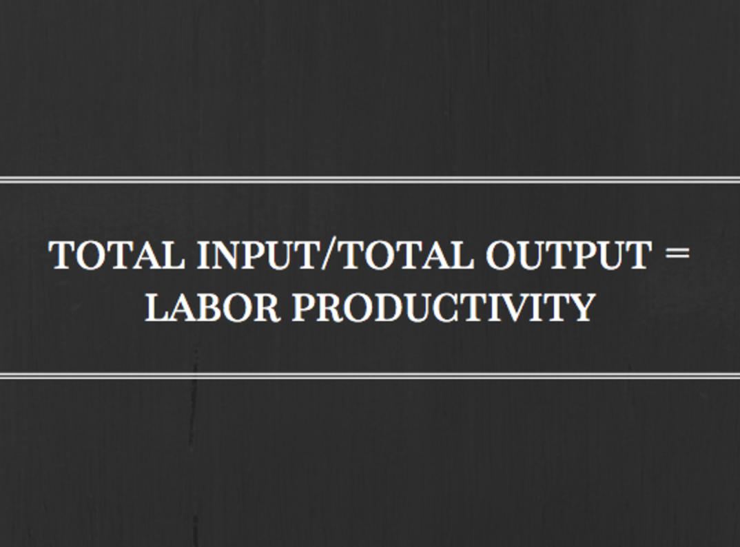 Total input / total output equals labor productivity