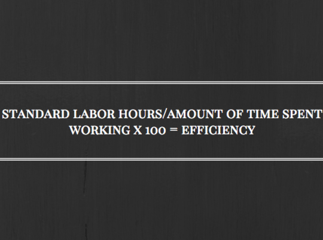 Standard labor hours / amount of time spent working x 100 equals efficiency
